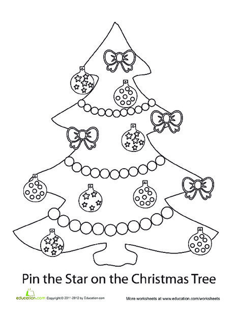 First Grade Offline games Worksheets: Pin the Star on the Christmas Tree
