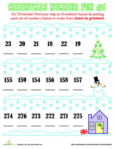 First Grade Math Worksheets: Christmas Numbers