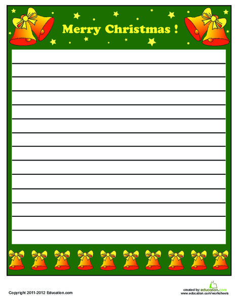 Second Grade Holidays Worksheets: Printable Christmas Stationery