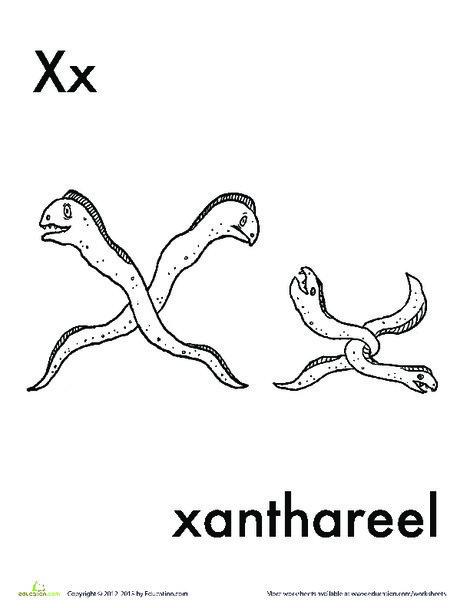 Kindergarten Reading & Writing Worksheets: X for Xanthareel