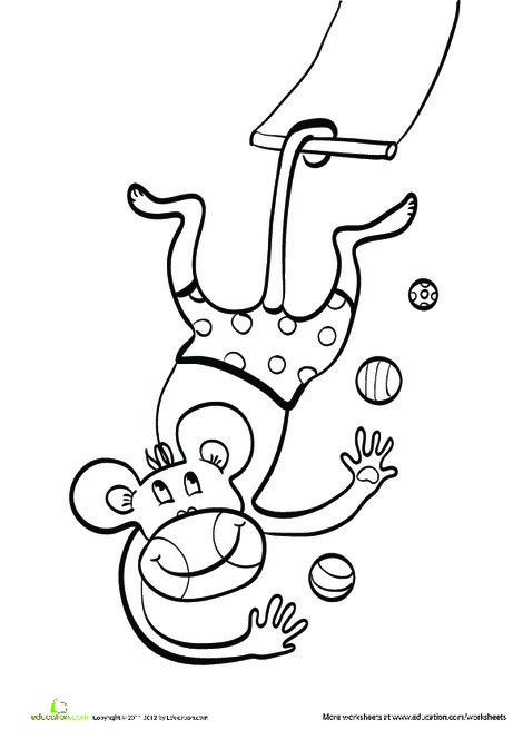 Kindergarten Coloring Worksheets: Trapeze Monkey Coloring Page