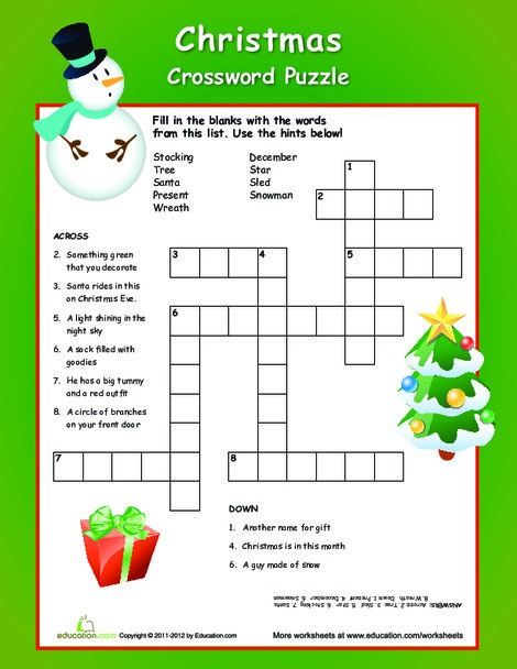 Third Grade Reading & Writing Worksheets: Christmas Crossword Puzzle