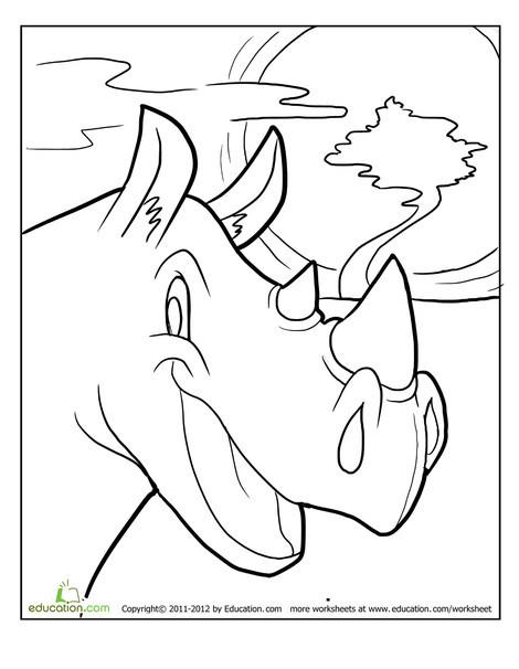 Kindergarten Coloring Worksheets: Rhino Coloring