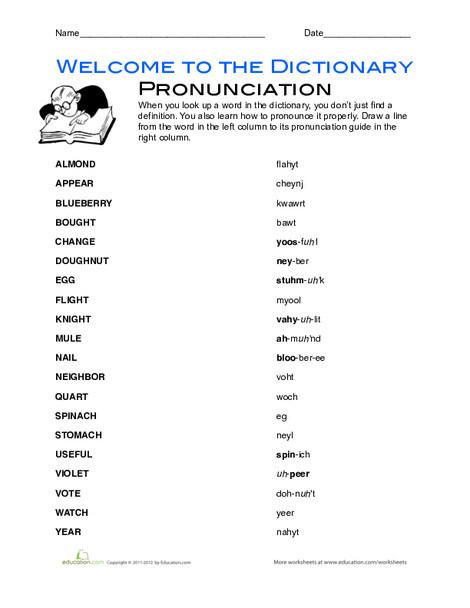 Second Grade Reading & Writing Worksheets: English Pronunciation