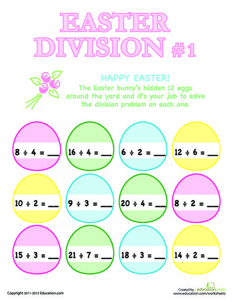 Third Grade Math Worksheets: Easter Division