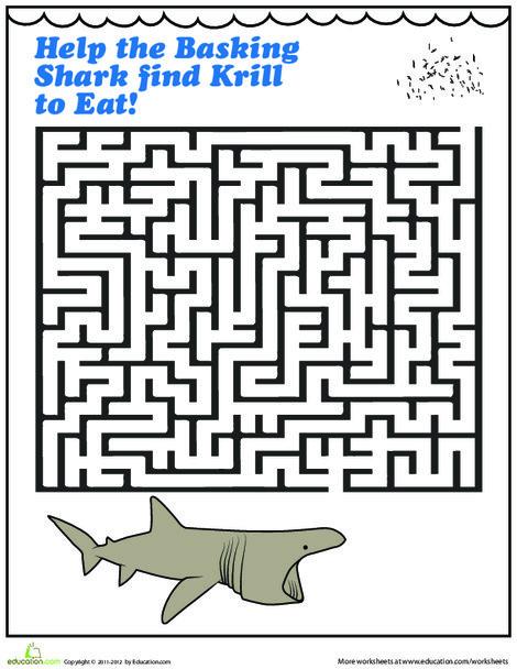 Kindergarten Offline games Worksheets: Shark Maze