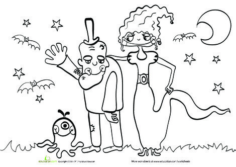 Kindergarten Holidays Worksheets: Halloween Family Coloring Page