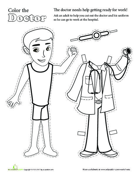 Kindergarten Arts & crafts Worksheets: Color the Paper Doll: Doctor