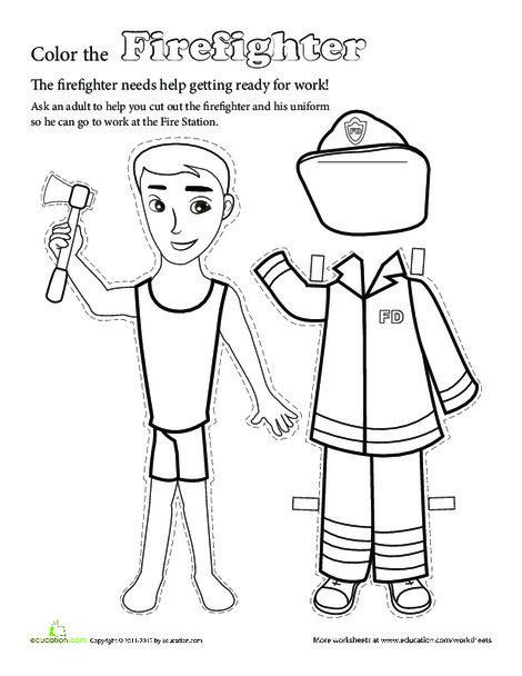 Kindergarten Arts & crafts Worksheets: Make a Paper Doll Firefighter