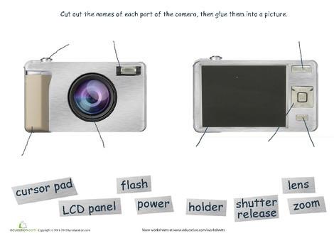 First Grade Reading & Writing Worksheets: Parts of a Digital Camera