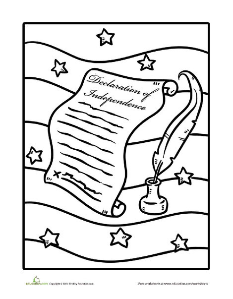 Preschool Coloring Worksheets: Declaration of Independence, Coloring Page