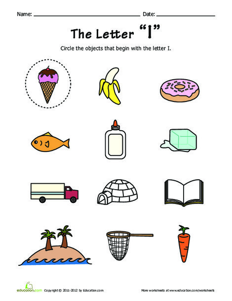 Preschool Reading & Writing Worksheets: Things that Start with I