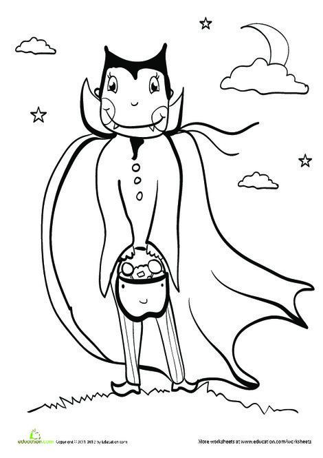 Kindergarten Holidays Worksheets: Dracula Costume Coloring Page