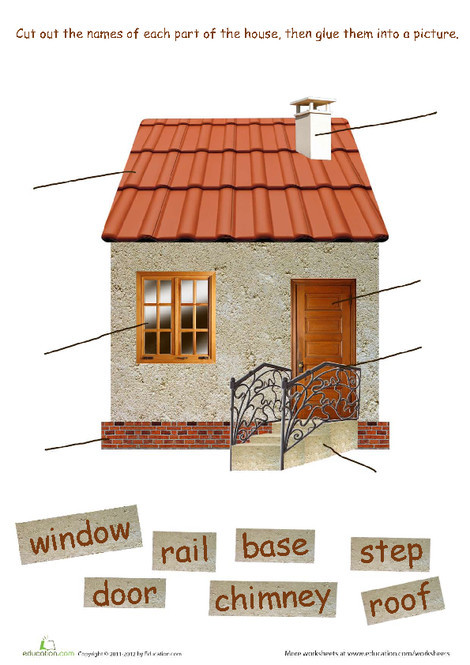 First Grade Reading & Writing Worksheets: Parts of a House