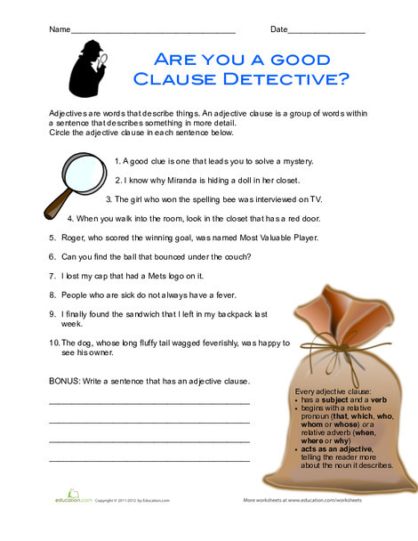 Fourth Grade Reading & Writing Worksheets: Adjective Clauses