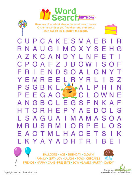 Third Grade Reading & Writing Worksheets: Word Search: Birthday