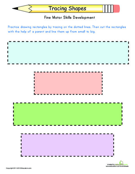 Kindergarten Math Worksheets: Tracing Shapes: Rectangles