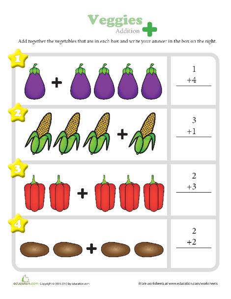Kindergarten Math Worksheets: Veggies Addition