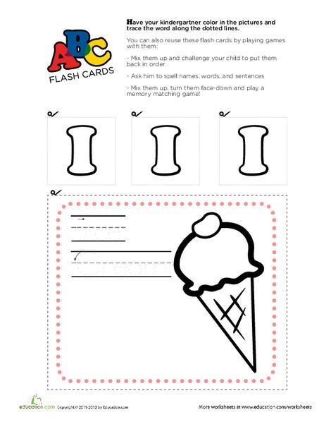 Kindergarten Reading & Writing Worksheets: Alphabet Flashcards: I