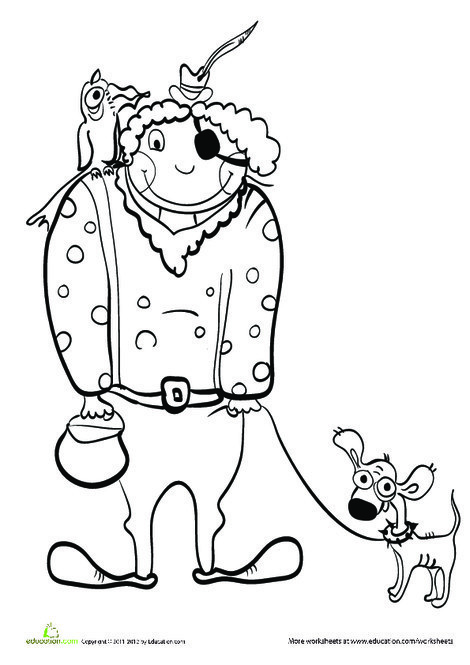 Kindergarten Holidays Worksheets: Halloween Pirate Coloring Page