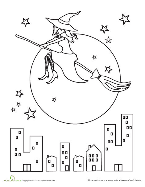 Kindergarten Holidays Worksheets: Halloween Witch Coloring Page