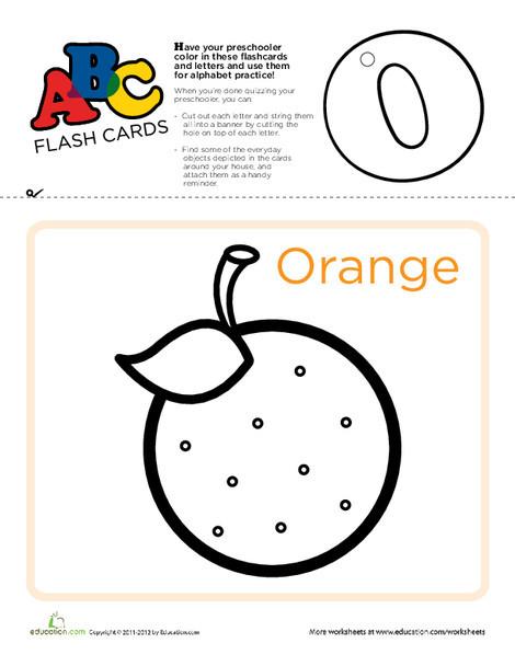 Preschool Reading & Writing Worksheets: ABC Flashcards: O