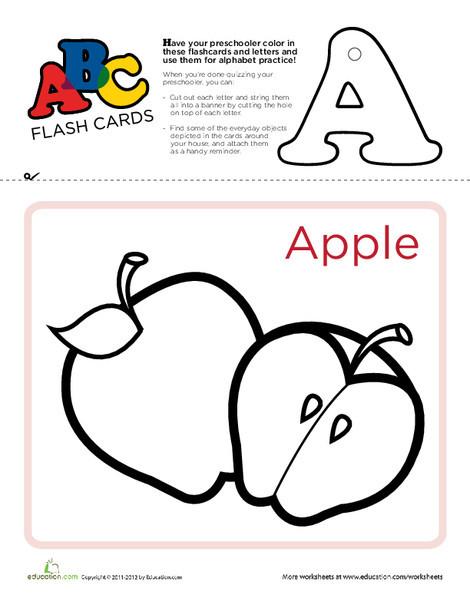 Preschool Reading & Writing Worksheets: ABC Flashcards: A