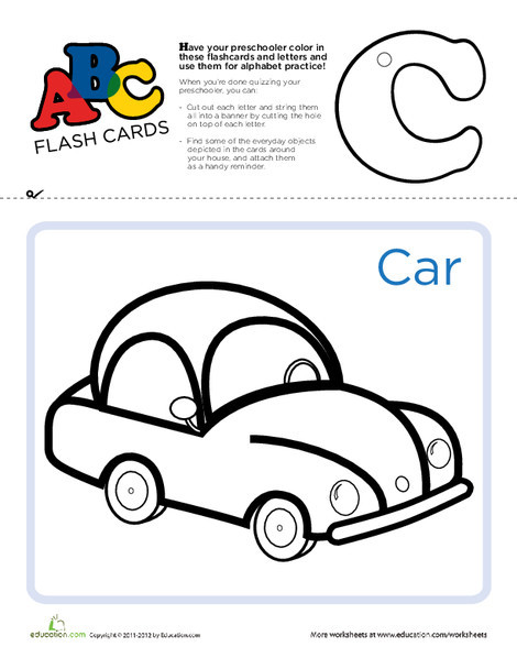 Preschool Reading & Writing Worksheets: ABC Flashcards: C