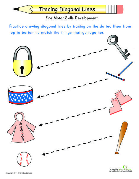 Preschool Reading & Writing Worksheets: Tracing Diagonal Lines: Match the Objects
