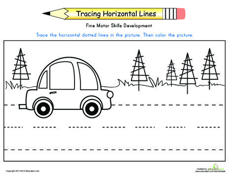 Preschool Reading & Writing Worksheets: Practice Tracing Horizontal Lines