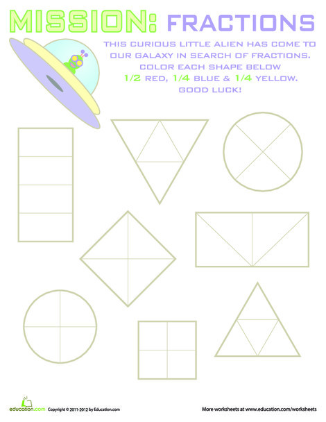 Second Grade Math Worksheets: Geometry Fractions #6