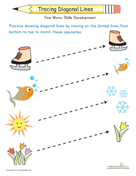 Preschool Reading & Writing Worksheets: Tracing Diagonal Lines: Match the Opposites