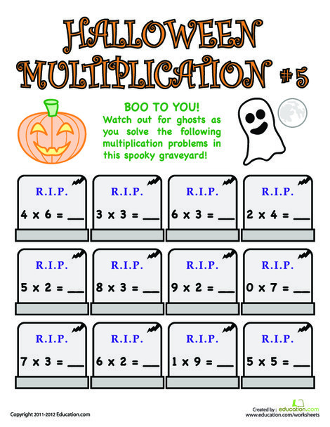 Third Grade Math Worksheets: Halloween Multiplication #5
