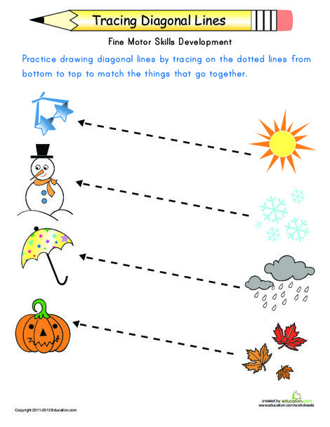 Preschool Reading & Writing Worksheets: Match the Seasons: Trace the Diagonal Lines