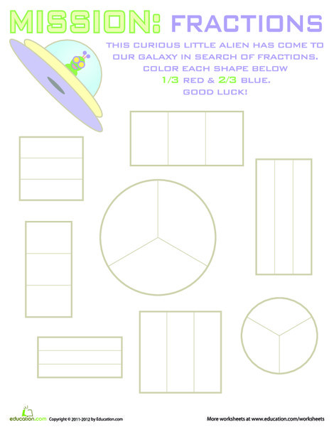 Second Grade Math Worksheets: Geometry Fractions #9