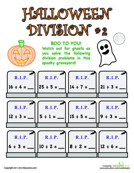 Third Grade Math Worksheets: Halloween Division #2