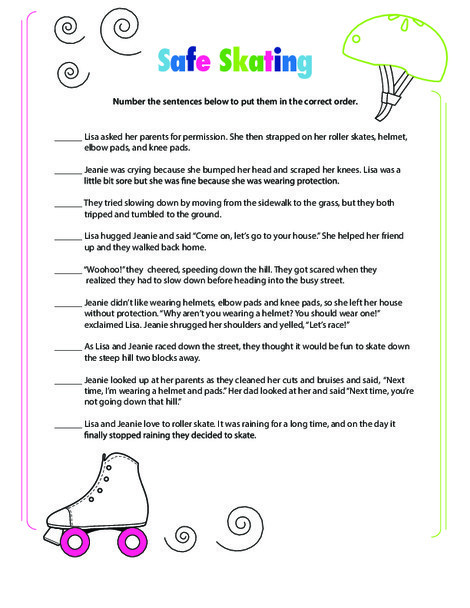 Third Grade Reading & Writing Worksheets: Story Sequencing: Roller Skating