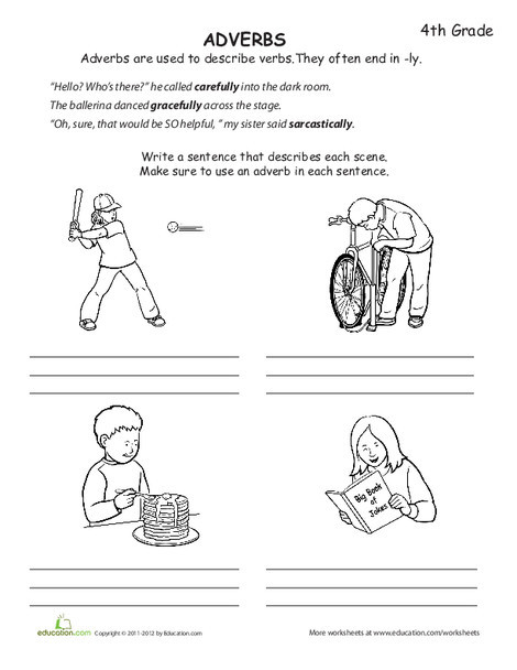 Fourth Grade Reading & Writing Worksheets: What is an Adverb?