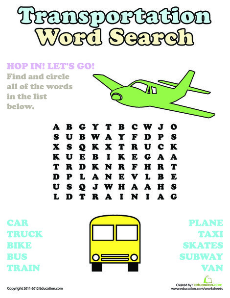Second Grade Reading & Writing Worksheets: Word Search: Transportation