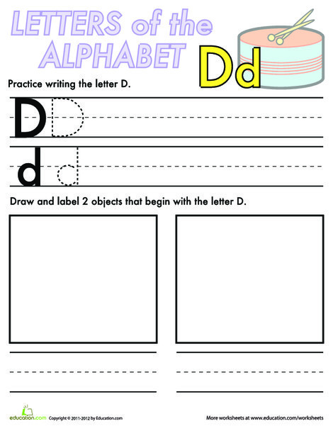 Kindergarten Reading & Writing Worksheets: Alphabet Practice: D