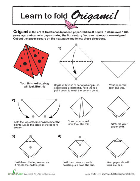 Third Grade Arts & crafts Worksheets: How to Do Origami: Ladybug