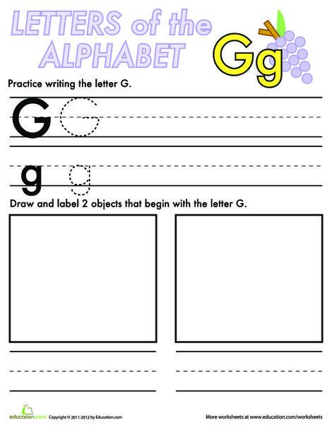 Kindergarten Reading & Writing Worksheets: Alphabet Practice: G