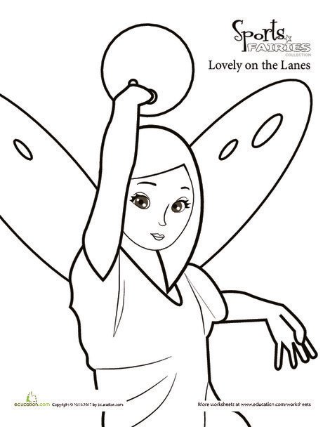 Preschool Coloring Worksheets: Color the Sports Fairy: Bowling