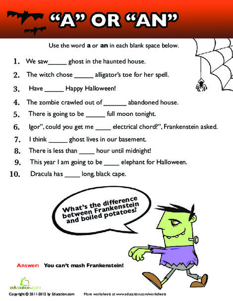 "Third Grade Reading & Writing Worksheets: Using ""A"" or ""An"""