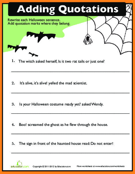 Fourth Grade Reading & Writing Worksheets: Quotation Punctuation