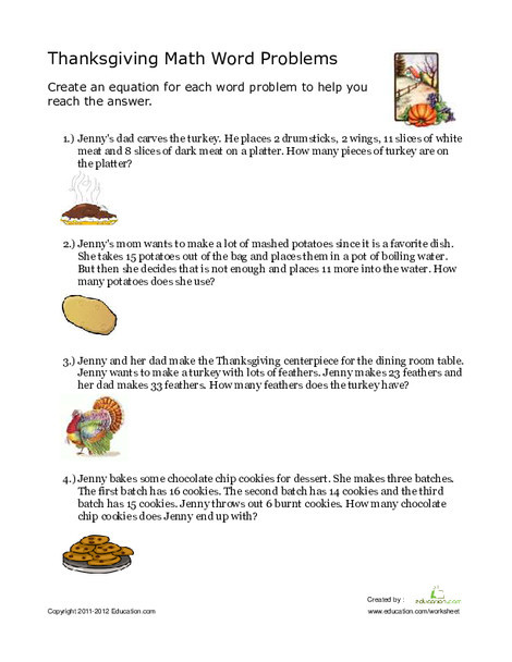 Second Grade Math Worksheets: Thanksgiving Word Problems
