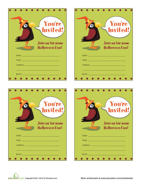 Second Grade Arts & crafts Worksheets: Cute Crow Halloween Invitations