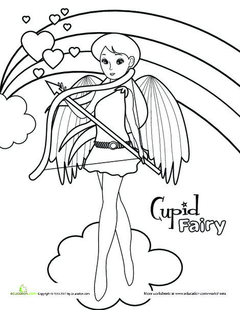 Kindergarten Coloring Worksheets: Cupid Fairy Coloring Activity