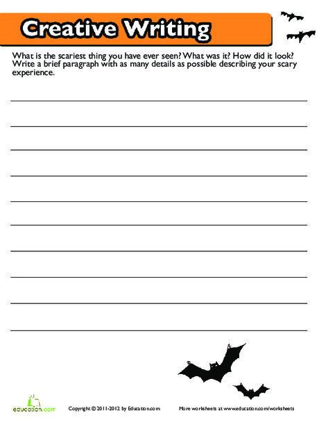 Fourth Grade Reading & Writing Worksheets: Halloween Creative Writing