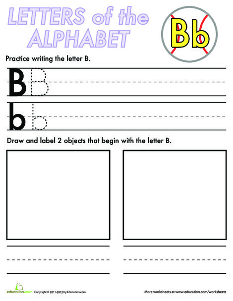 Kindergarten Reading & Writing Worksheets: Alphabet Practice: B
